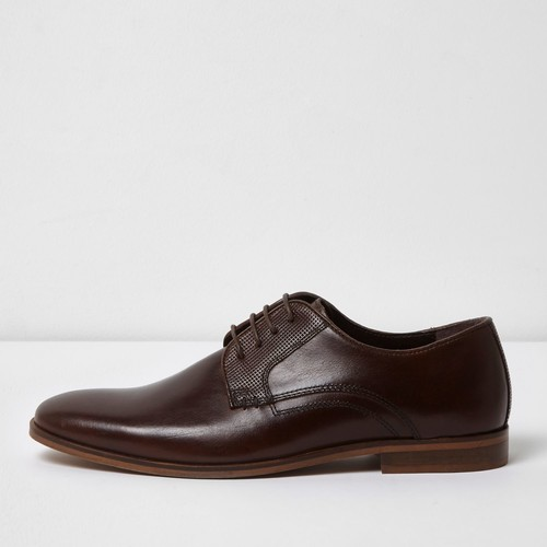 Dark brown leather lace-up formal shoes