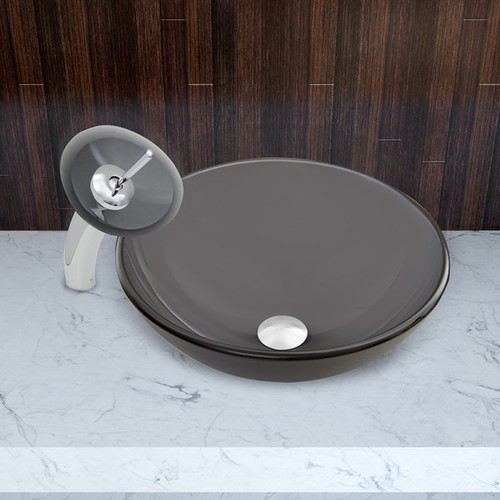 VIGO Sheer Black Frost Glass Vessel Sink and Waterfall Faucet Set in Chrome Finish