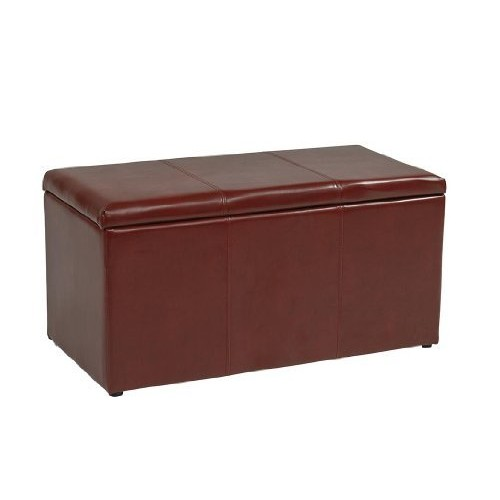 Office Star Metro 3-Piece Bench and Ottoman Cube Set in Eco Leather, Crimson Red [Crimson Red]