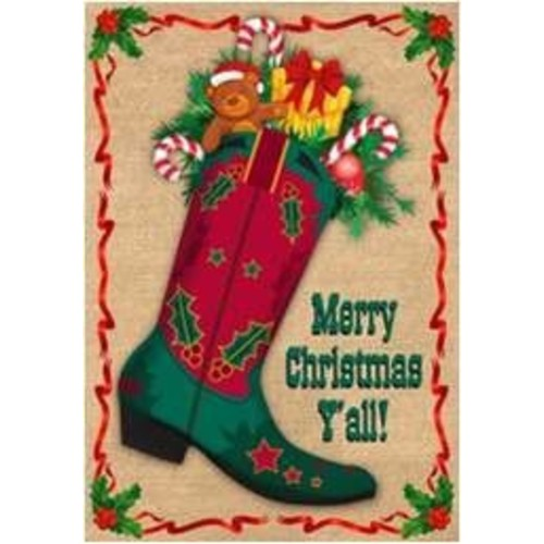 The Cranford Group Merry Christmas Ya'll Boot Garden Flag