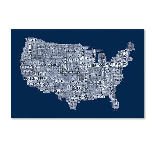 Trademark Global Michael Tompsett 'US City Map V' Canvas Art