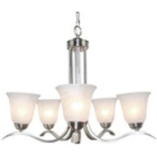 5 light nickel brushed glass chandelier