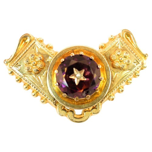 Georgian Gold & Carved Amethyst Brooch