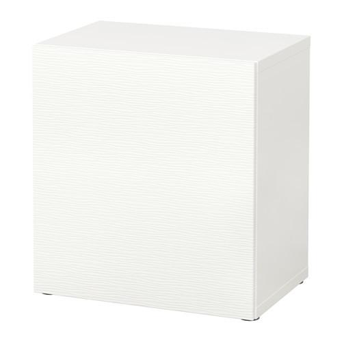BEST Shelf unit with glass door, walnut effect light gray, Glassvik white/frosted glass