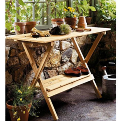 Steel Garden Utility Bench with Wooden Top