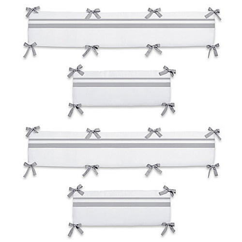 Sweet Jojo Designs Hotel Collection 4-Piece Crib Bumper in White/Grey