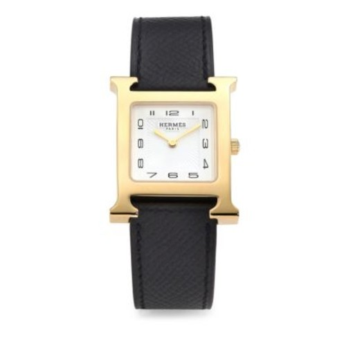 Heure H MM Yellow Goldtone Stainless Steel & Leather Strap Watch/Black