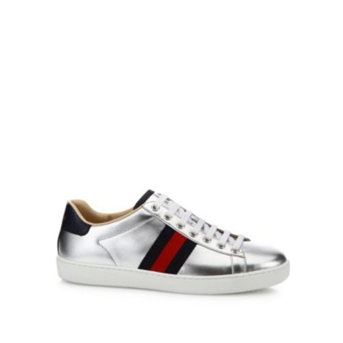 GUCCI Ace Metallic Leather Low-Top Sneakers