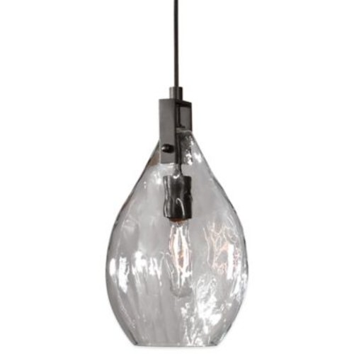 Uttermost Campester Mini Pendant Lamp in Matte Black with Watered Glass Shade