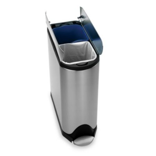 simplehuman Brushed Stainless Steel Fingerprint-Proof 40-Liter Butterfly Recycler Trash Can