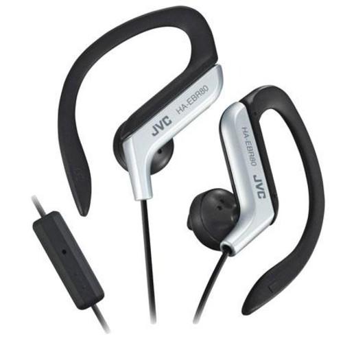 JVC HA-EBR80S Sport Ear Clip Headphones with Remote & Mic, Silver HA-EBR80S