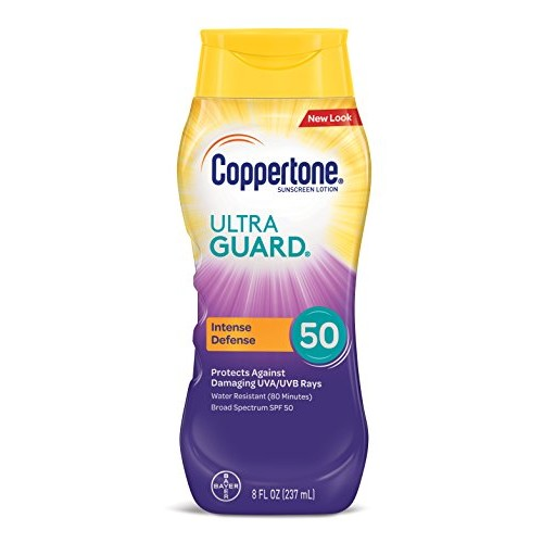 Coppertone Ultra Guard Sunscreen Lotion Broad Spectrum SPF 50, 8 Fluid Ounces [LOTION 8 OUNCE, SPF 50]