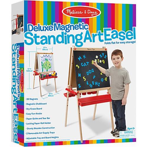 Melissa & Doug Deluxe Floor Easel/Magnetic Board, Wood, Multicolor