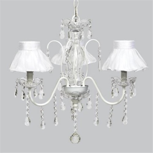 Jubilee Collection 7332-2770 White 3 Light Jewel Chandelier with White Ruffled Sheer Skirt Ch Shades