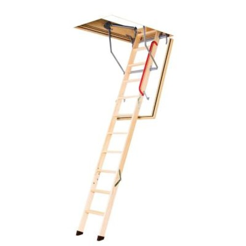 Fakro LWF 8 ft. - 10 ft., 22.5 in. x 54 in. Fire Rated Insulated Wood Attic Ladder with 300 lb. Maximum Load Capacity