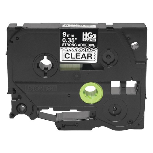 Indoor/Outdoor Polyester Label Tape Cartridge, Black/Clear, 23/64