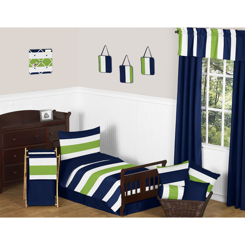 Sweet Jojo Designs Navy and Lime Stripe Collection 5pc Toddler Bedding Set