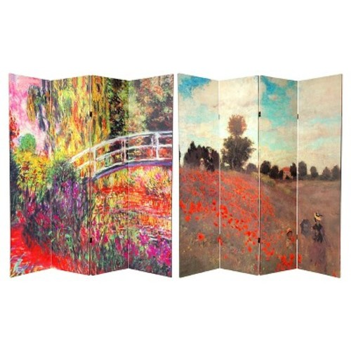 Monet Fine Art Double Sided Room Divider Japanese Bridge and Poppy Field in Argenteu - Oriental Furniture