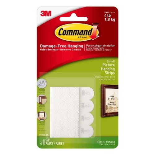 Command Small Picture Hanging Strips, 4/pk