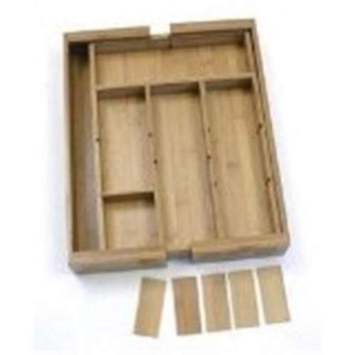 Lipper Bamboo Expandable Adjustable Drawer Organizer with 6 Dividers