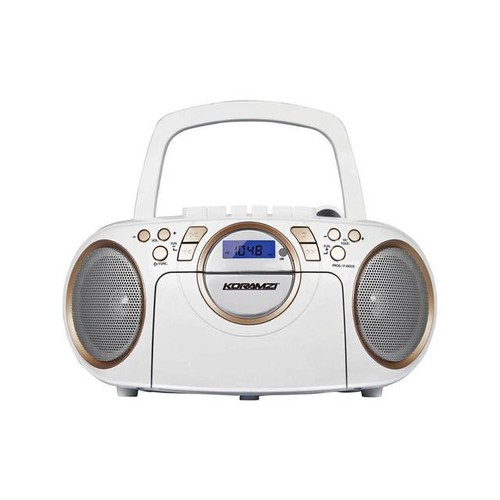 KORAMZI CD705CWH Portable CD/MP3/USB Radio Cassette Recorder (White/Gold) -