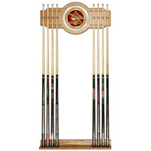Trademark Global Wood and Glass Billiard Cue Rack With Mirror, Anheuser Busch A & Eagle