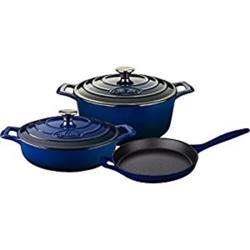 La Cuisine LC 2670MB 5 Piece Pro Enameled Cast Iron Round Casserole Cookware Set, Ultramarine Blue