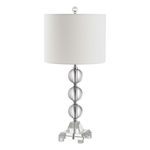 Safavieh Fiona Crystal Table Lamp with CFL Bulb, Clear with Off-White Shade