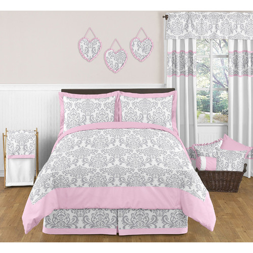 Sweet Jojo Designs Pink and Gray Elizabeth Collection 3pc Full/Queen Bedding Set