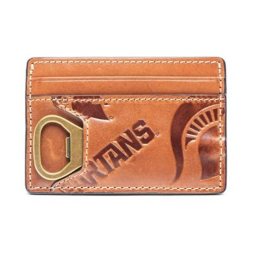 Jack Mason Michigan State University Sideline Leather ID Card Case in Brown