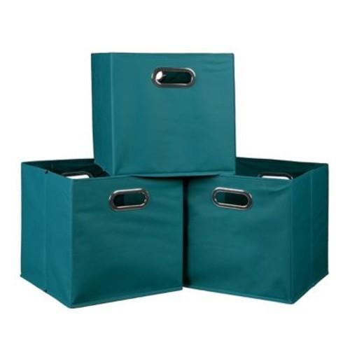 Niche Cubo Set of 3 Foldable Fabric Storage Bins- Teal (HTOTE3PKTL)