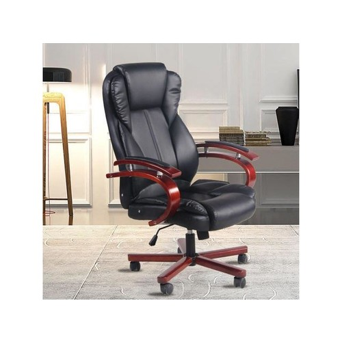 Wooden Arm Computer Chair Desk Task Swivel Armchair PU Leather Office Chair black
