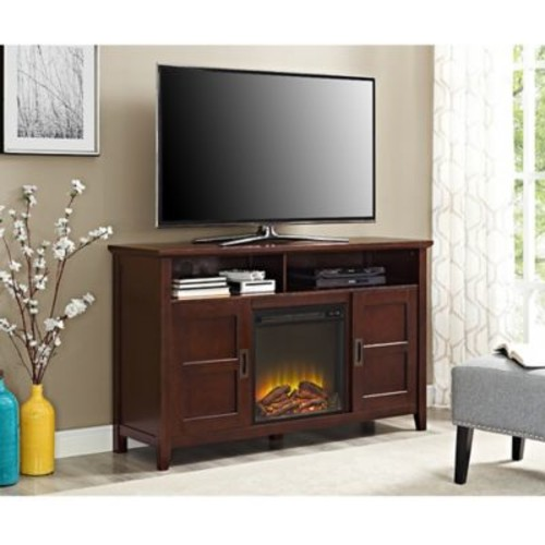 Walker Edison Rustic Chic Fireplace TV Stand