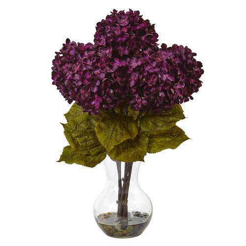 nearly natural 18-in. Hydrangea Silk Flower Artificial Floral Arrangement