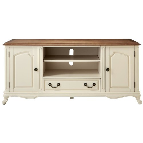 Home Decorators Collection Provence Ivory Entertainment Center with Ash Grey Top
