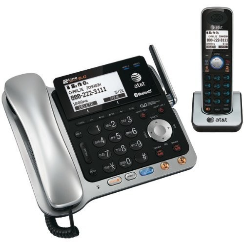 AT&T TL86109 DECT 6.0 2-Line Expandable Corded/Cordless Phone with Bluetooth Connect to Cell, Answering System and Base Speakerphone, 1 Corded Handset and 1 Cordless Handset, Silver/Black [1 Handset]