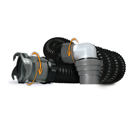 Camco RhinoEXTREME 15ft RV Sewer Hose Kit, Includes Swivel Fitting and Translucent Elbow with 4-In-1 Dump Station Fitting, Crush Resistant, Storage Caps Included [15 feet, Sewer Hose Kit]