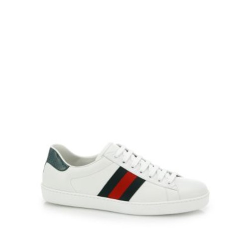 GUCCI Croc-Detail Leather Sneakers