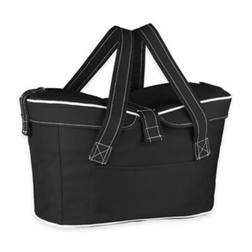 Picnic Time Mercado Insulated Picnic Basket Tote in Black