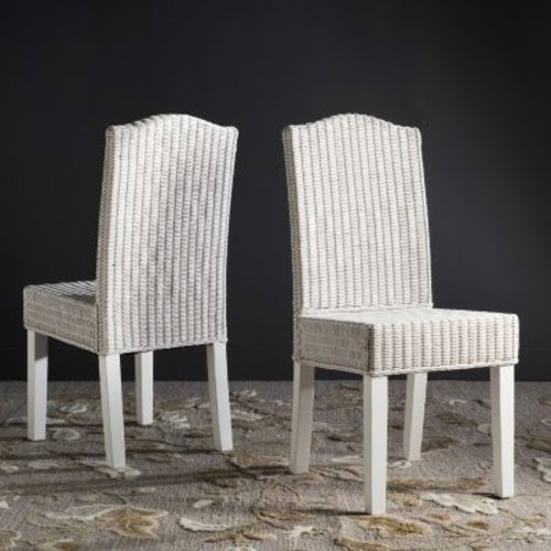 Safavieh Odette White Wicker Dining Chair (Set of 2)
