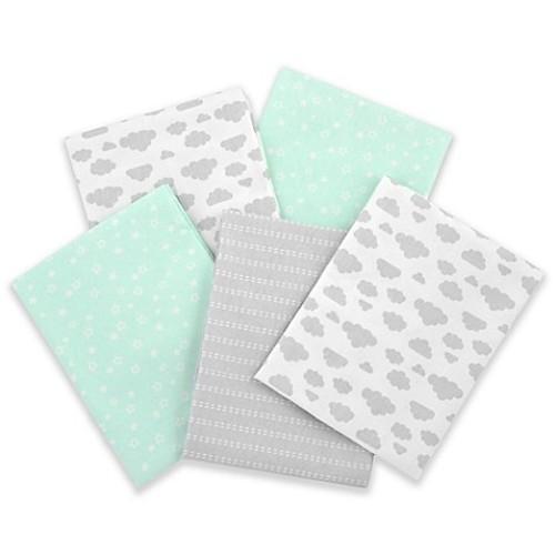 Gerber 5-Pack of Flannel Receiving Blankets in Green