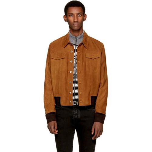 SAINT LAURENT Brown Suede 'Jean' Jacket