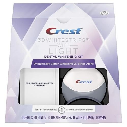 Crest 3D White Whitestrips with Light, Teeth Whitening Strips Kit, 10 count
