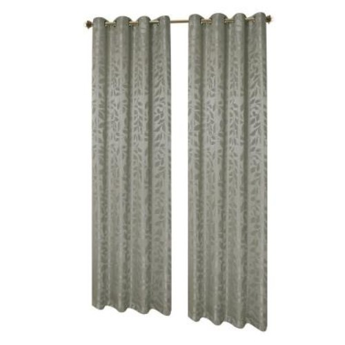 Window Elements Semi-Opaque Alpine Textured Woven Leaf 54 in. W x 84 in. L Grommet Curtain Panel in Jacquard Sage