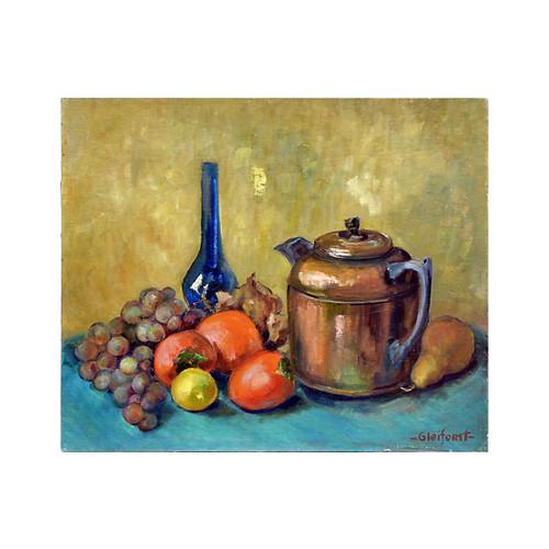 Teapot, Vase & Fruit by Helen Gleiforst