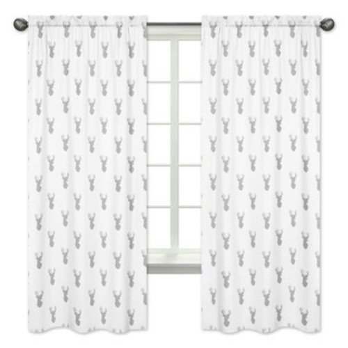 Sweet Jojo Designs Stag 84-Inch Window Panels in Grey/White (Set of 2)