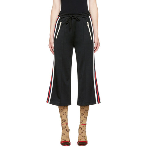 GUCCI Black Cropped Wide-Leg Track Pants