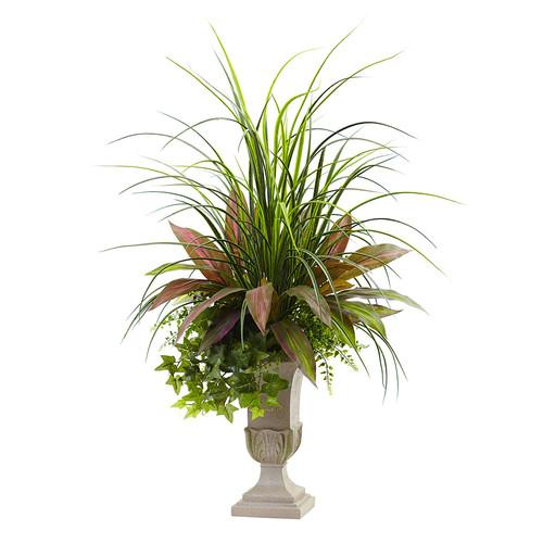 Nearly Natural 3 Mixed Grass, Dracena, Sage Ivy & Fern w/Planter Silk Plant
