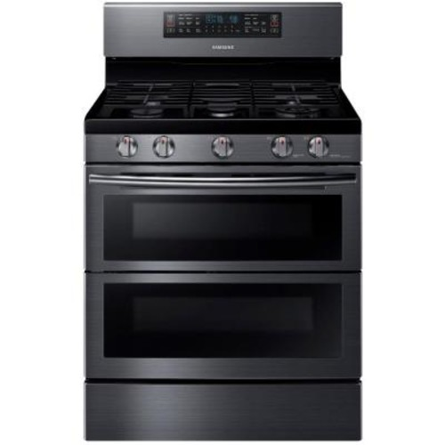Samsung 30 in. 5.8 cu. ft. Double Oven Gas Range with Self-Cleaning Convection Oven in Black Stainless