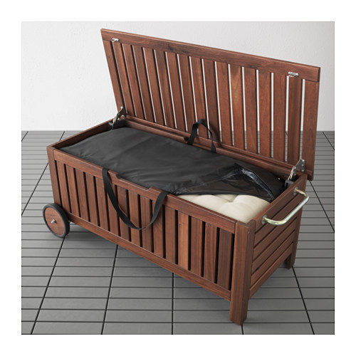 PPLAR / TOSTER Bench with storage bag, outdoor, brown stained